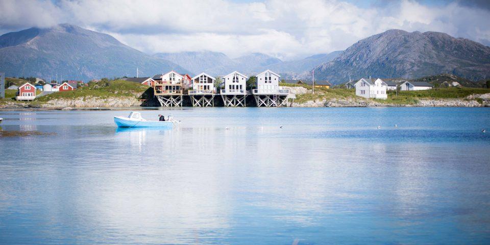 norwegia, fiord, domki rybackie, góry, kawa w krzakach
