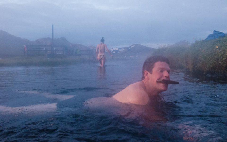 Landmannalaugar, kąpiel w źródle