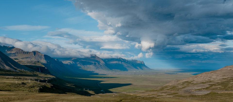 półwysep sneafellsjokull - widok na tworzące się chmury
