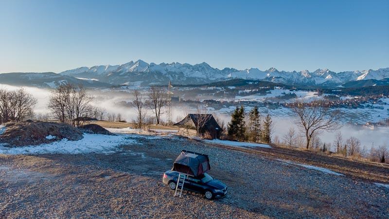 góry, tatry, panorama, samochód, ikamper, namiot dachowy, kawa w krzakach
