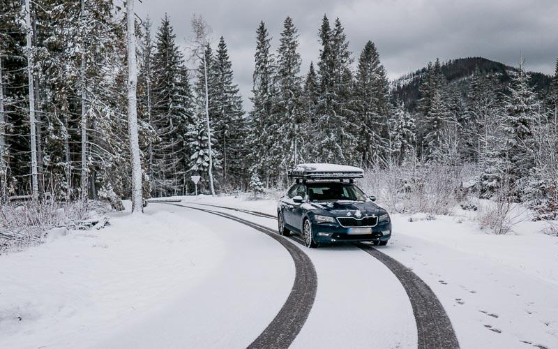samochód, zima, las, ikamper, namiot dachowy, kawa w krzakach